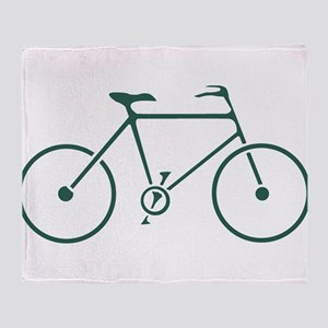Green and White Cycling Throw Blanket