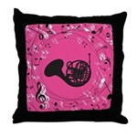 French Horn Music Notes Gift Throw Pillow
