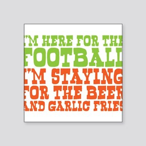 I Love Football and Garlic Fries Square Sticker 3""
