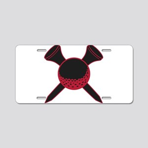 Red and Black Golf Aluminum License Plate