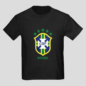 brazil soccer logo Kids Dark T-Shirt