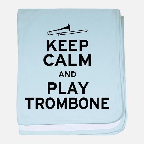 Keep Calm Play Trombone baby blanket
