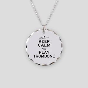 Keep Calm Play Trombone Necklace Circle Charm