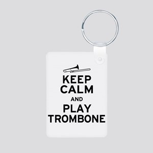 Keep Calm Play Trombone Aluminum Photo Keychain