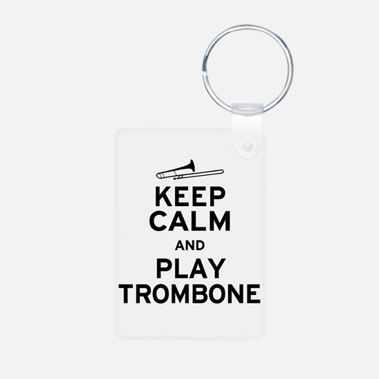 Keep Calm Play Trombone Aluminum Photo Keychain
