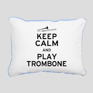 Keep Calm Play Trombone Rectangular Canvas Pillow