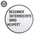 """Retro 8 Bit Expert Mode 3.5"""" Button (10 pack)"""