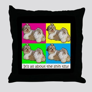 Shih Tzu Pop Art AZ China Color Throw Pillow