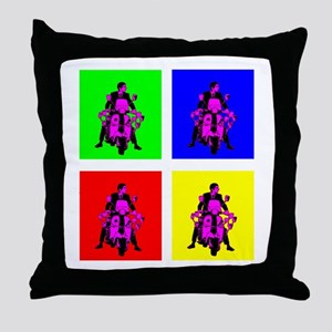 Mod rider pop art Throw Pillow