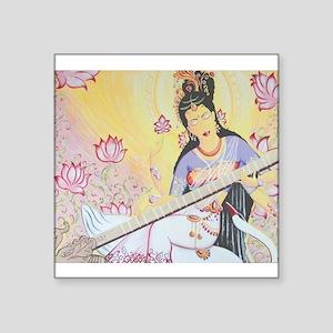 "Meditative Sarasvati music Square Sticker 3"" x 3"""