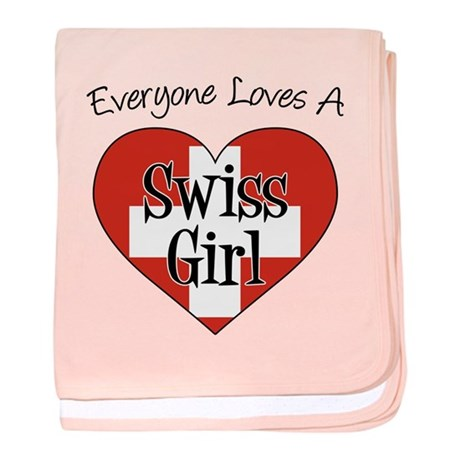 Everyone Loves Swiss Girl baby blanket