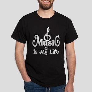 Music Is My Life Quote Dark T-Shirt
