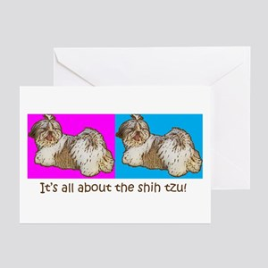 Shih Tzu Pop Art AZ China Color Greeting Cards (Pa