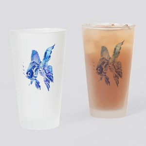 Blue Watercolor Goldfish Drinking Glass