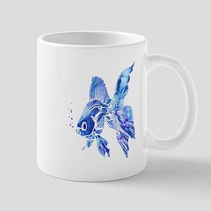 Blue Watercolor Goldfish Mugs