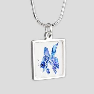 Blue Watercolor Goldfish Necklaces