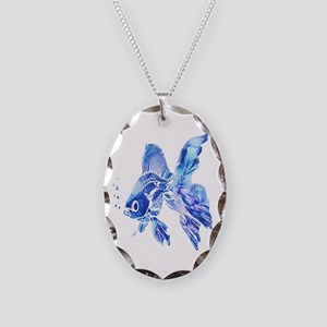 Blue Watercolor Goldfish Necklace Oval Charm