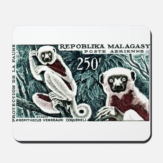 1961 Madagascar Lemur White Sifaka Stamp Mousepad