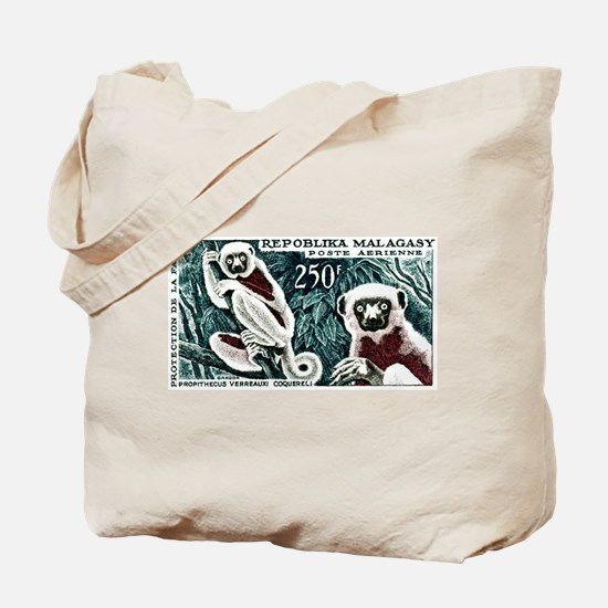1961 Madagascar Lemur White Sifaka Stamp Tote Bag