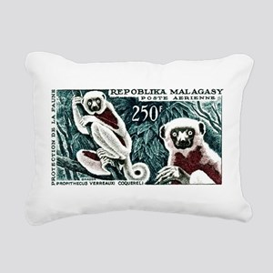 1961 Madagascar Lemur White Sifaka Stamp Rectangul