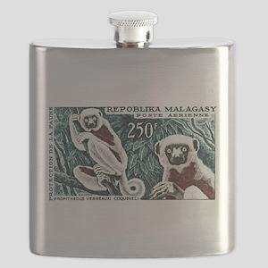 1961 Madagascar Lemur White Sifaka Stamp Flask