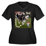 Takeem Out To Trot Women's Plus Size V-Neck Dark T