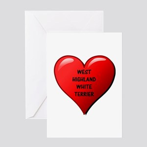 west highland white terrier heart Greeting Cards