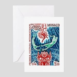 1974 Monaco Circus Acrobats Postage Stamp Greeting