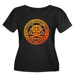 Cat Skull Women's Plus Size Scoop Neck Dark T-Shir