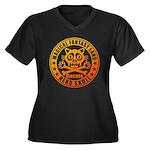 Cat Skull Women's Plus Size V-Neck Dark T-Shirt