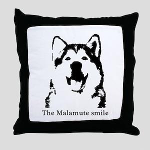 The Malamute Smile Throw Pillow