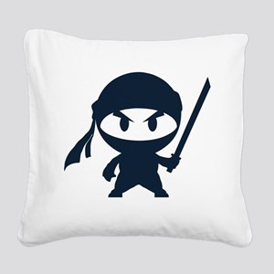 Angry ninja Square Canvas Pillow