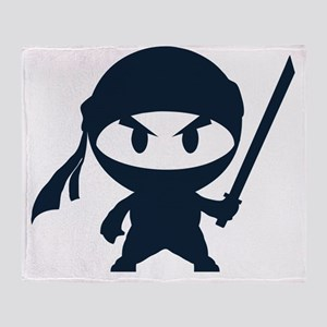 Angry ninja Throw Blanket