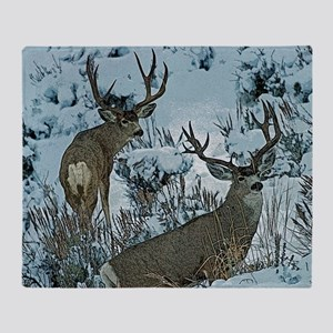 Bucks in snow 2 Throw Blanket