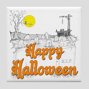 Halloween Graveyard Tile Coaster