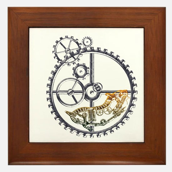 Industrial Hamster in a wheel Framed Tile