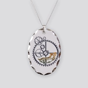 Industrial Hamster in a wheel Necklace Oval Charm