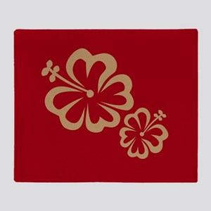 Red w/Gold Flower Throw Blanket