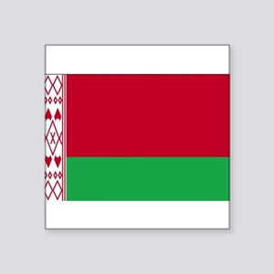 "Flag of Belarus Square Sticker 3"" x 3"""