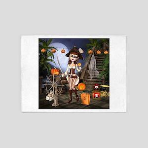 Halloween Pirate Girl 5'x7'Area Rug