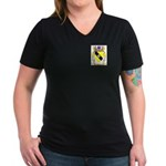 Acuna Women's V-Neck Dark T-Shirt