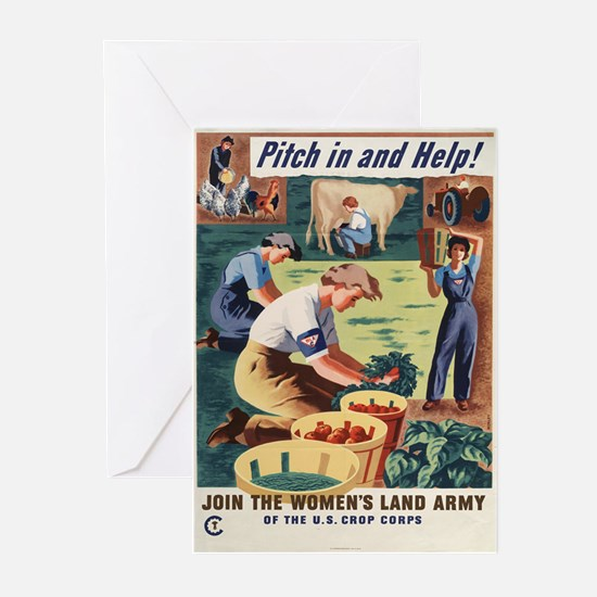 WWII POSTER PITCH IN AND HELP! Greeting Cards (Pac