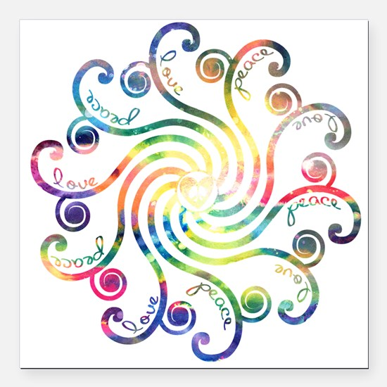 "Cosmic Peace Love Square Car Magnet 3"" x 3"""