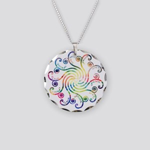 Cosmic Peace Love Necklace Circle Charm