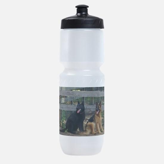 two german shepherds Sports Bottle