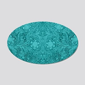 Leather Floral Turquoise 20x12 Oval Wall Decal