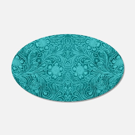 Leather Floral Turquoise Wall Decal