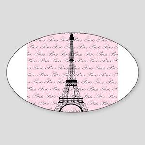 Pink and Black Paris Eiffel Tower Sticker (Oval)