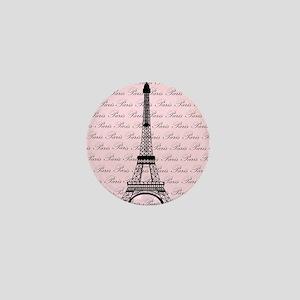 Pink and Black Paris Eiffel Tower Mini Button