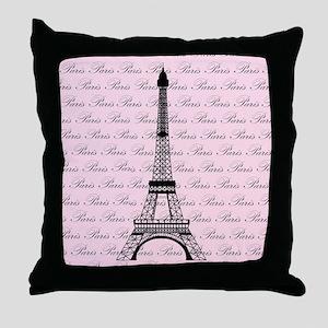 Pink and Black Paris Eiffel Tower Throw Pillow